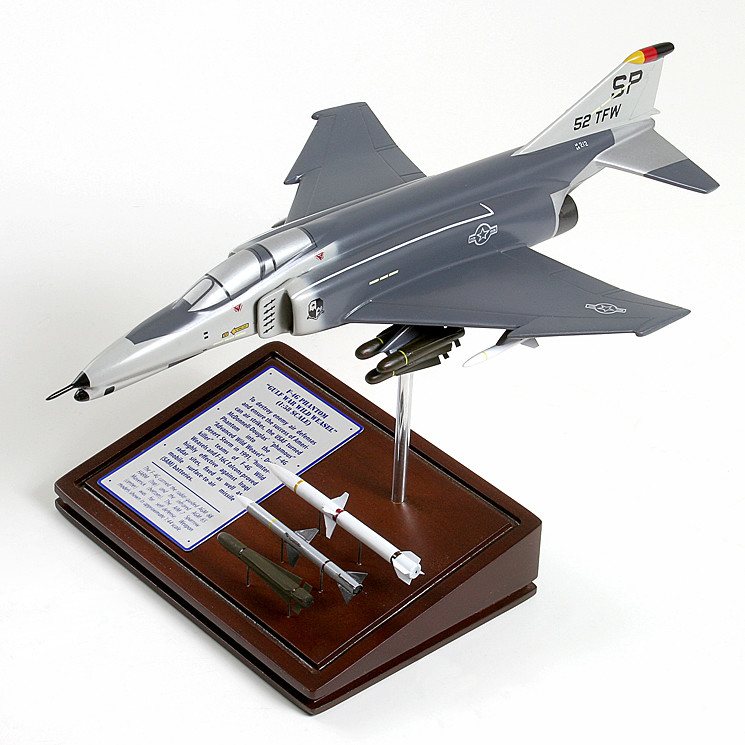 F-4G Phantom (Wild Weasel) 1/58 Wood Model Aircraft with Scale Ammunition