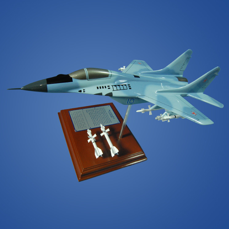 MiG-29 Fulcrum 1/54 Wood Plane Model with Scale Ammunition