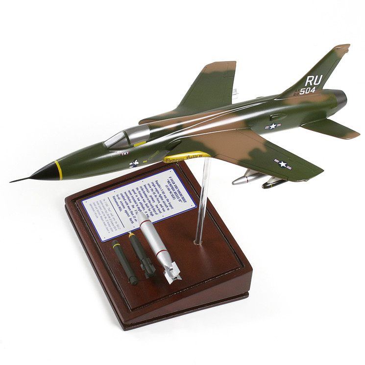 F-105D Thunderchief (Memphis Belle II) 1/60 Wood Model Aircraft with Scale Ammunition