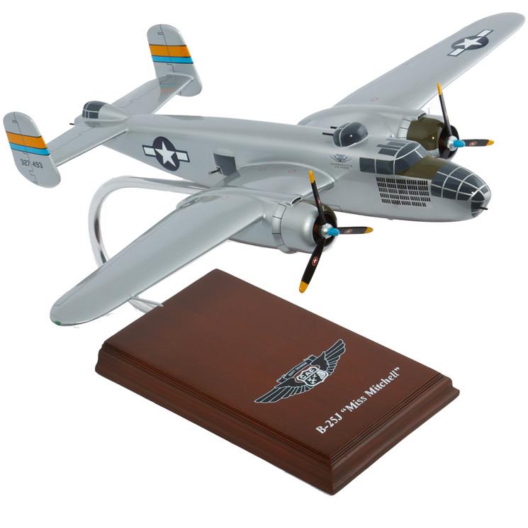 """B-25J Mitchell """"Miss Mitchell"""" 1/41 Wood Model Aircraft"""