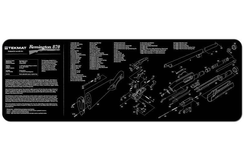 Remington 870 Shotgun Armorers Gun Cleaning Bench Mat Exploded View Schematic