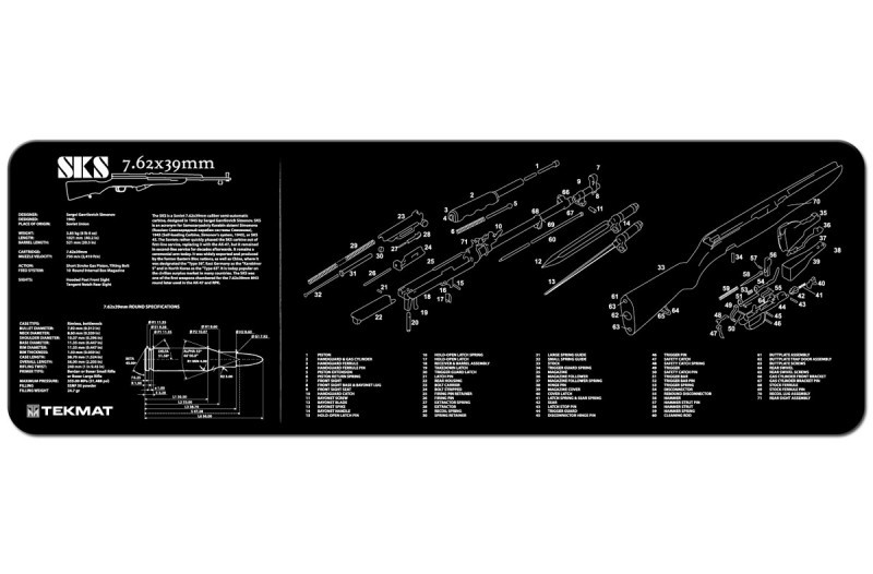SKS 7.62X 39mm Rifle Armorers Gun Cleaning Bench Mat Exploded View Schematic