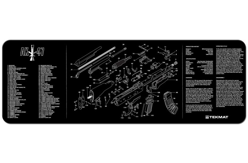 AK47 Armorers Gun Cleaning Bench Mat Exploded View Schematic Full Parts List