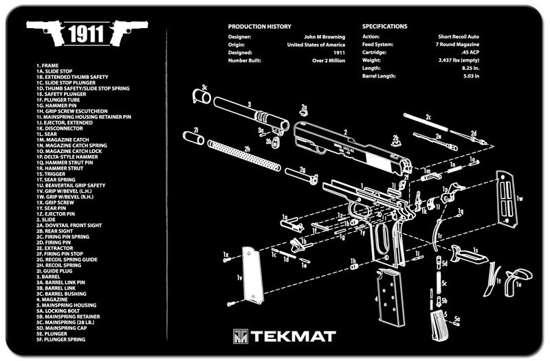1911 Armorers Gun Cleaning Bench Mat Full Parts List View Schematic