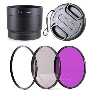 5-teiliges Zubehörset für Canon PowerShot G15, G16, 58mm