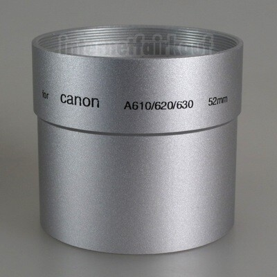 Adapter Tubus für Canon A610 A620 A630 A640 - 52mm silber 1-teilig