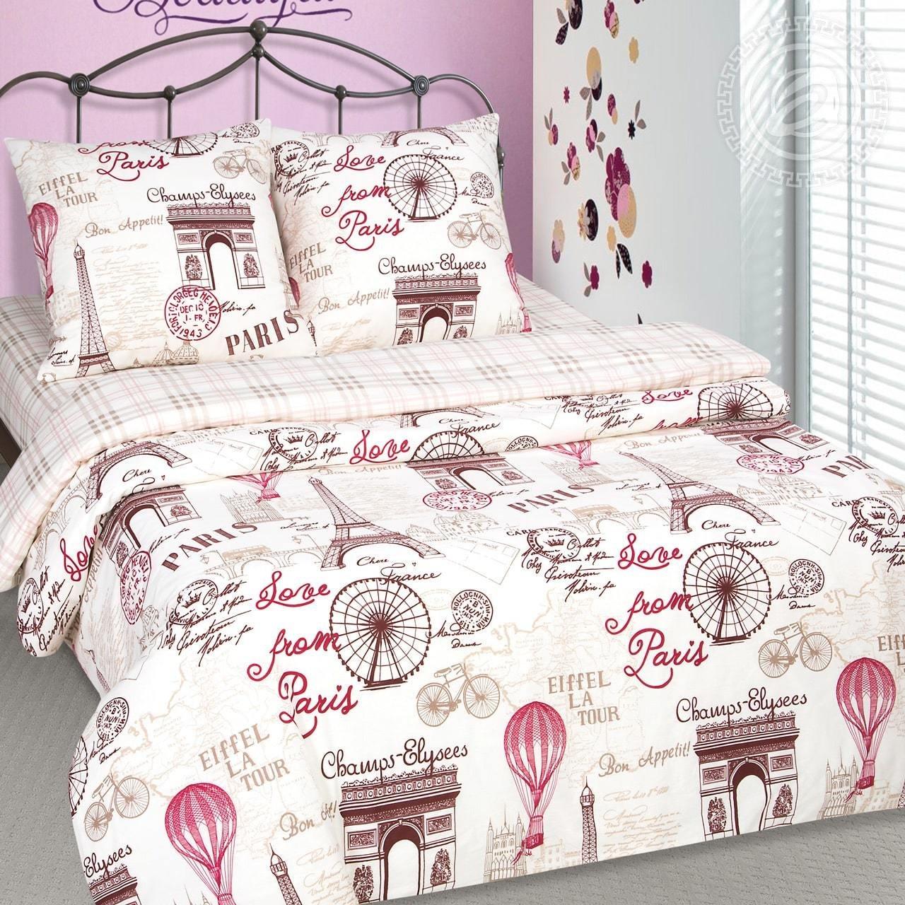 Комплект постельного белья из поплина  Прогулка по парижу
