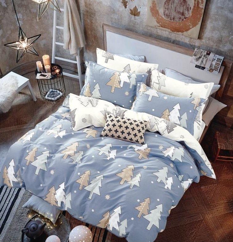 Комплект постельного белья из сатина Зимние елочки