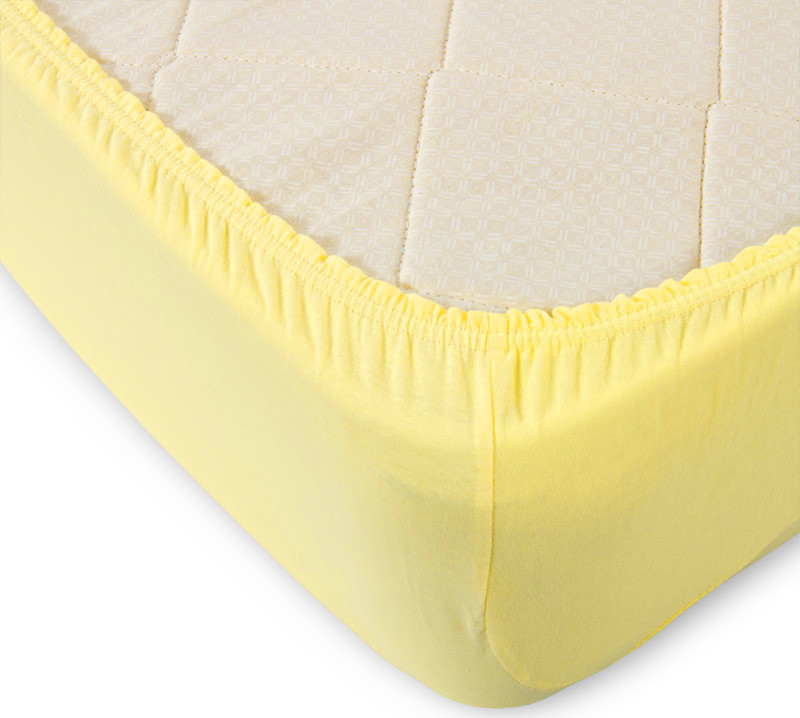 Простыня на резинке желтая