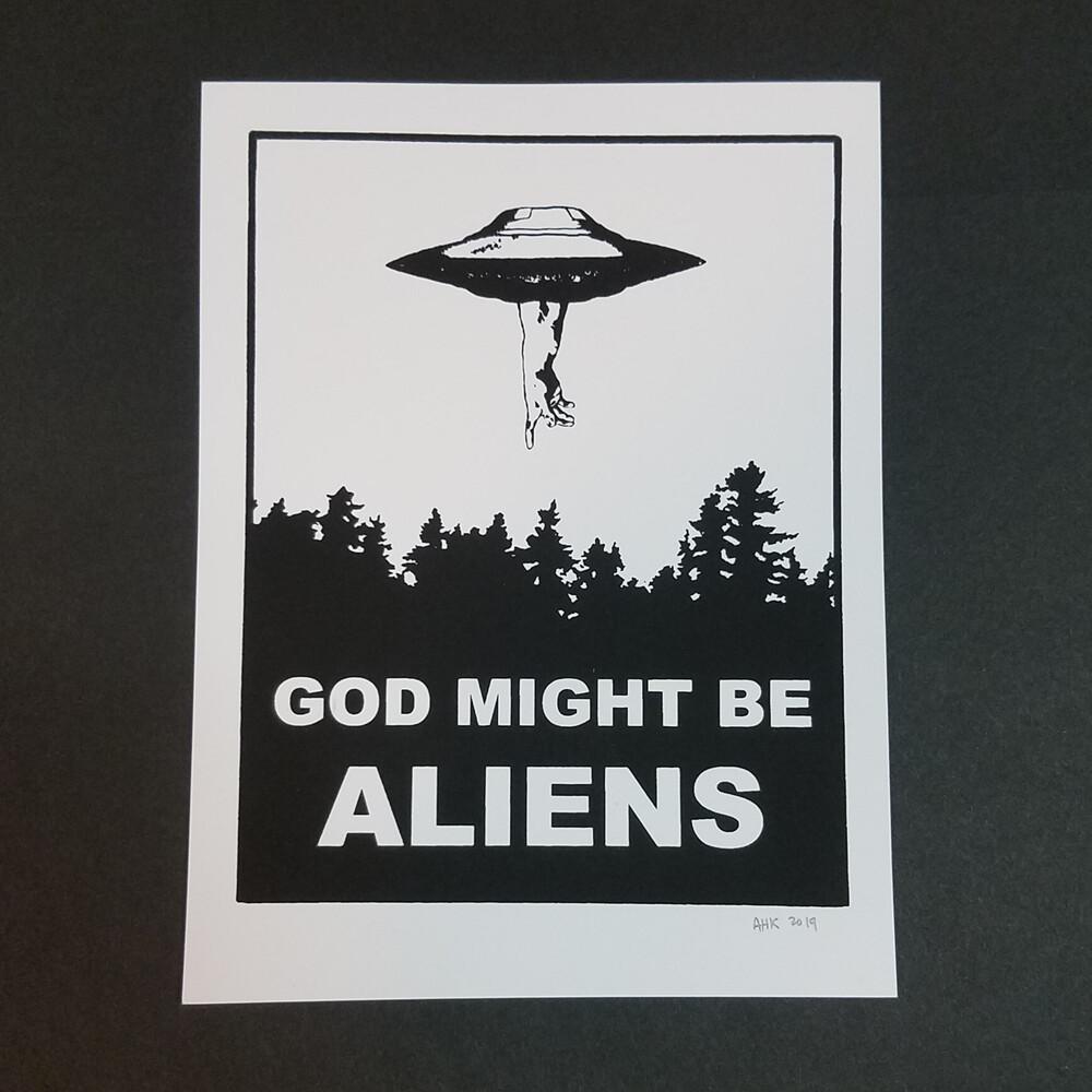 GOD MIGHT BE ALIENS mini print