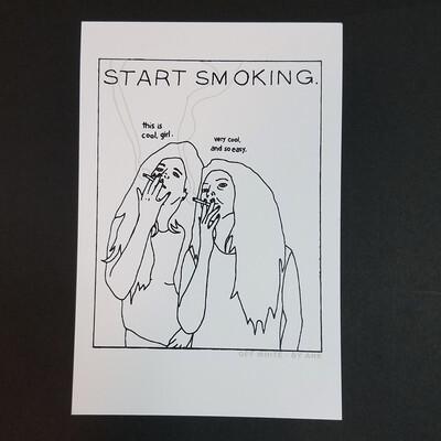 START SMOKING mini print