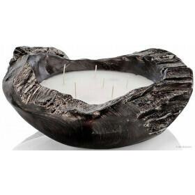 Natural Teak Bowl Candle Black Large