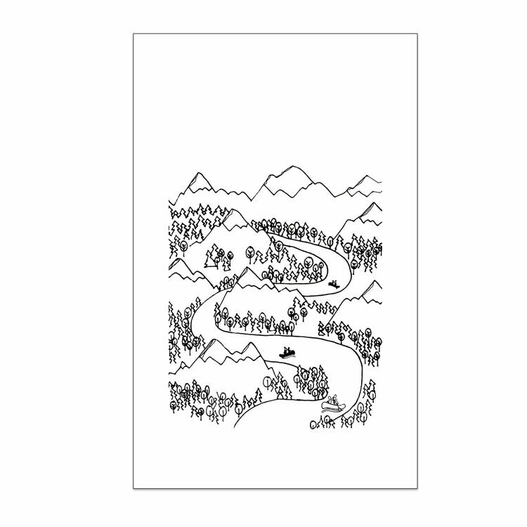 Mountains and River Boats Tea Towel