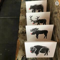 Greeting Card - Red Nose Animal (Buffalo, Bear, Elk, Moose)