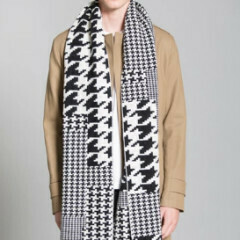 Houndstooth Blanket Black White