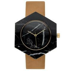 Marble Hex Mason Watch, Black, Tan