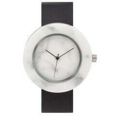 Marble Circle Mason Watch, White, Black