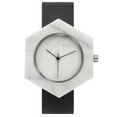 Marble Hex Mason Watch, White, Black