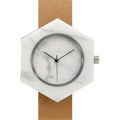 Marble Hex Mason Watch, White, Tan