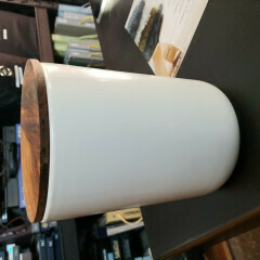 Stoneware Container with Acacia Lid - Extra Large White