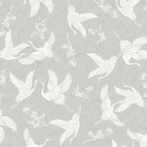 Lt. Gray Cranes Digital Print