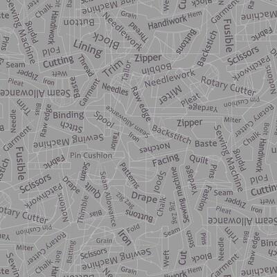 Grey Sewing Words