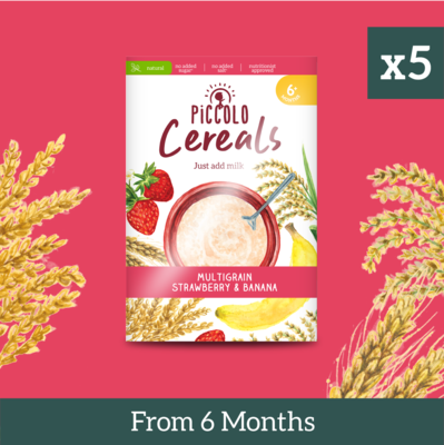 5x Piccolo Multigrain Strawberry & Banana 125g from 6 months