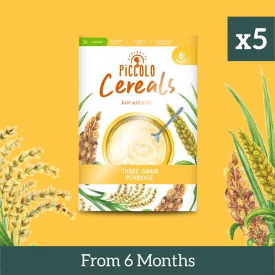 5x Piccolo Three Grain Porridge 125g from 6 months