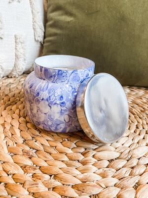 BLUE JEAN WATERCOLOR JAR- CANDLE 19 OZ.