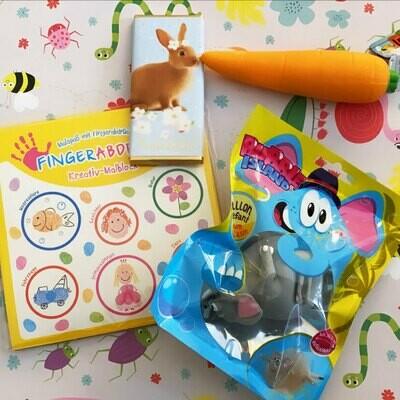 Kreativ- und Spasspaket mit Fingerabdruckspiel, Aufblaselefant und Spielkarotte