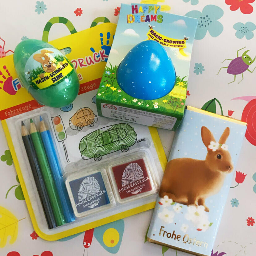 Osterpaket mit Fingerdruck-Set, magischem Ei, Hasen-Slime und Schoki