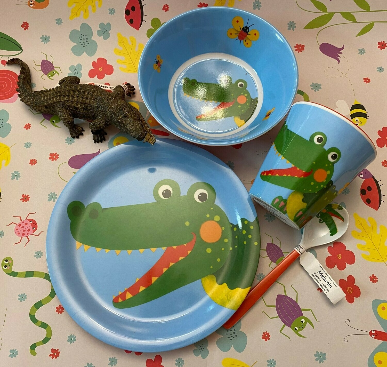 Geschirrset Krokodil und Schleich-Krokodil