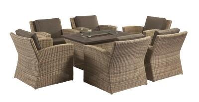 Carina Sofa Rectangular Fire Pit Set