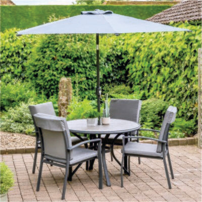 Turin 4 Seat Dining Set with Parasol