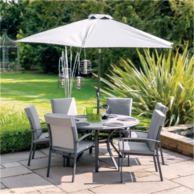 Turin 6 Seat Dining Set with Parasol