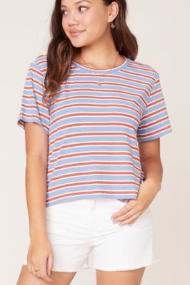 Blue/Orange Stripe Top