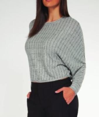 Grey Stripe Cropped Top