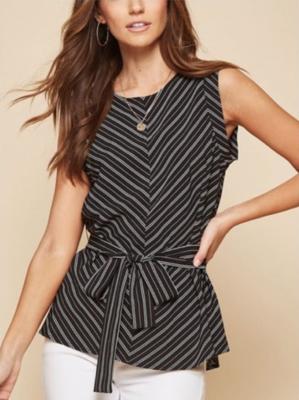 Black Stripe Tie-Front Top
