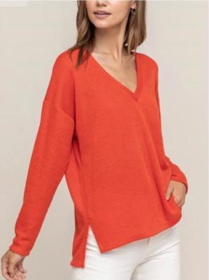 Orange Ribbed Top