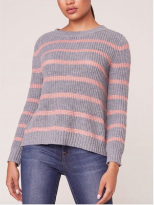 Grey/Pink Stripe Sweater