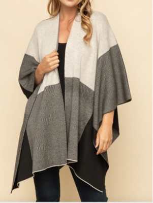 Draped Checker Poncho