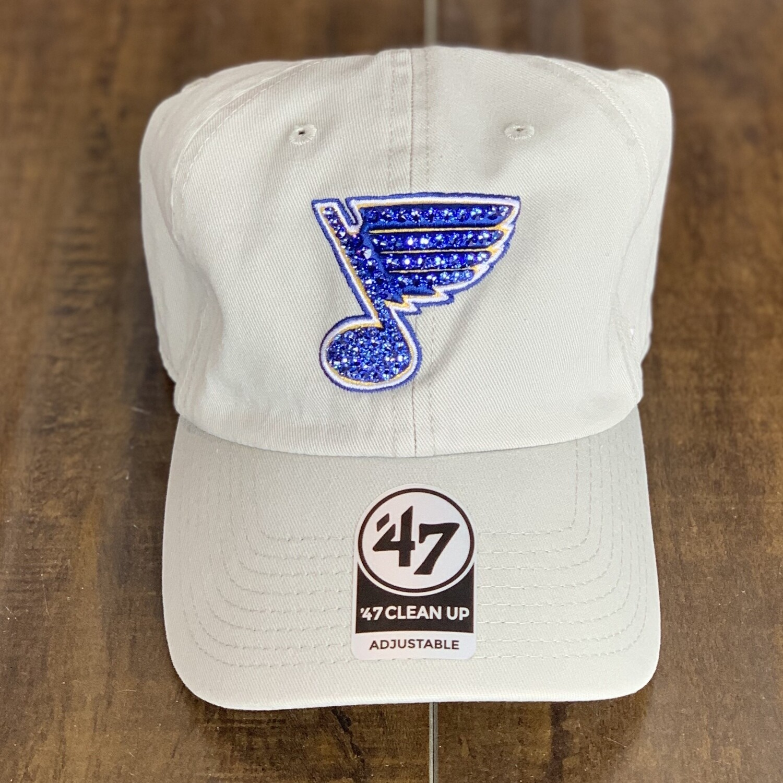 Lt. Grey '47 Hat W/ Blue Crystal