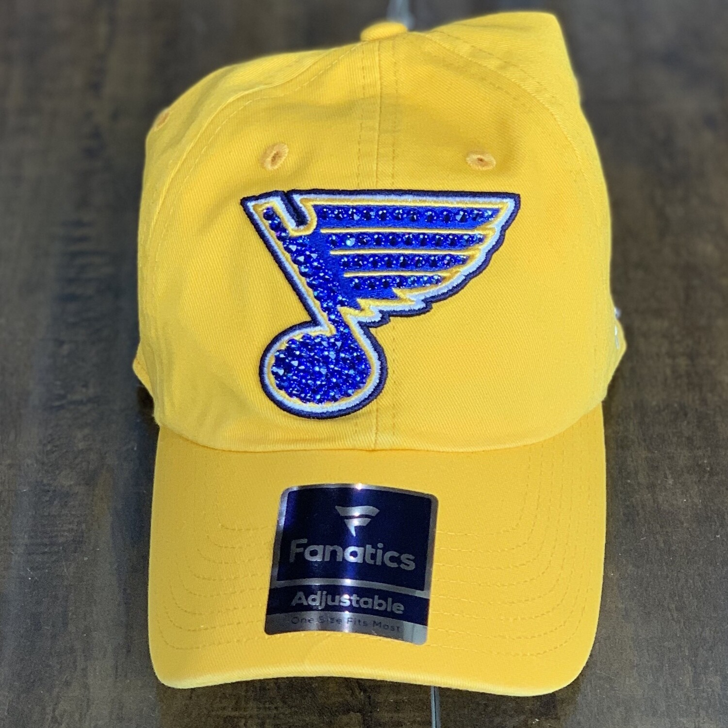 Yellow Fanatics Hat W/ Blue Crystal