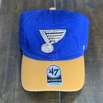 Blue/Yel '47 Hat W/ Clear Crystal