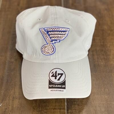 Lt. Grey '47 Hat W/ Clear Crystal