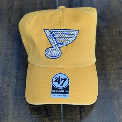 Yellow '47 Hat W/ Clear Crystal