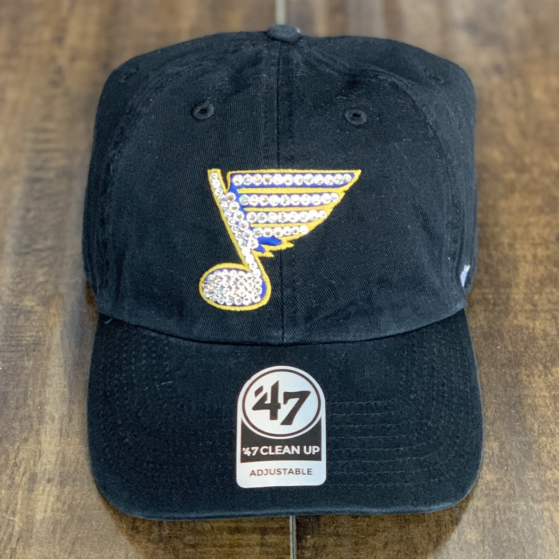 Black '47 Hat W/ Clear Crystal