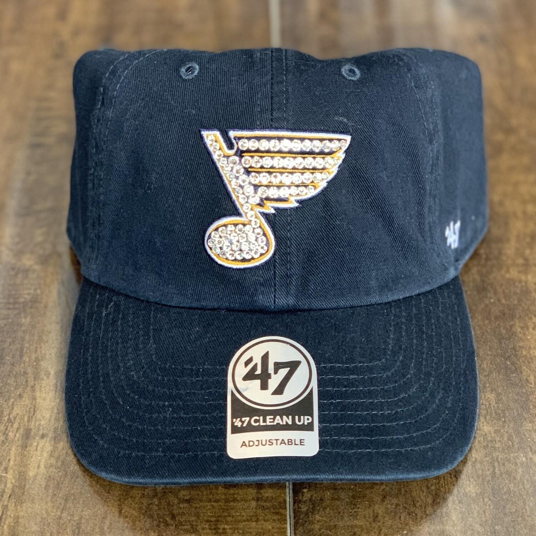 Navy '47 Hat W/ Clear Crystal
