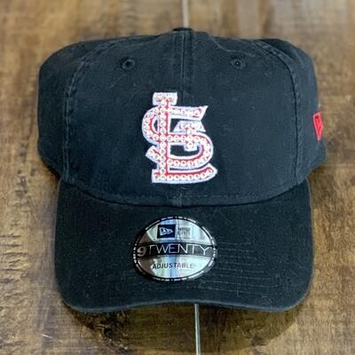 Blk. New Era Hat W/ Clear Crystal
