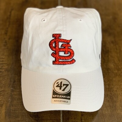 White '47 Hat W/ Red Crystal